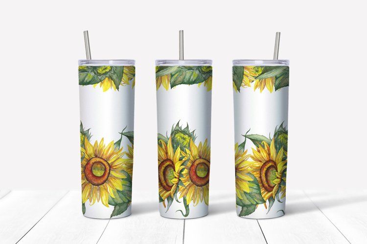 Sunflower 20 OZ Skinny Tumbler Wrap sublimation design PNG