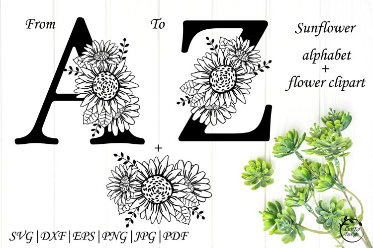 Sunflower alphabet SVG DXF PNG. Sunflowers monogram letters
