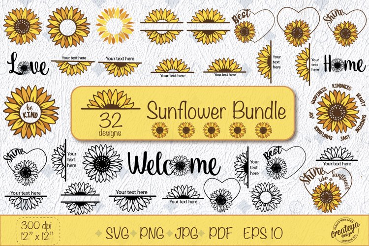 Sunflower SVG bundle with Sunflower quotes, Be kind