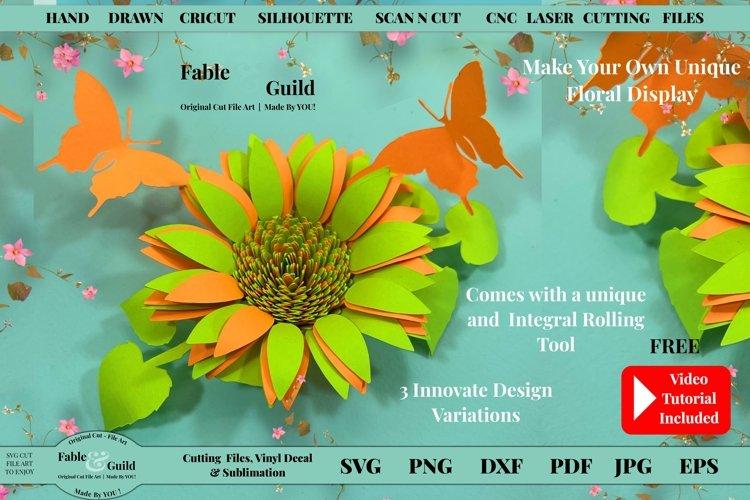 3D Butterfly 3D SUNFLOWER SVG Secret Garden Rolled Flower
