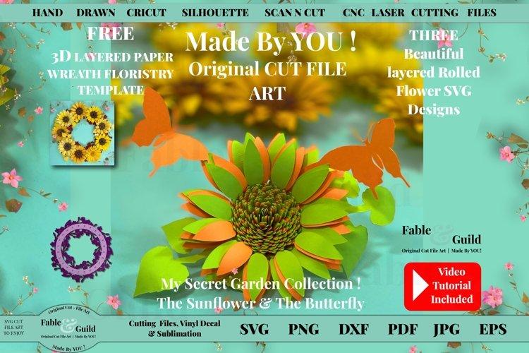 Best Rolled Paper Flower Template 3D Butterfly SUNFLOWER SVG