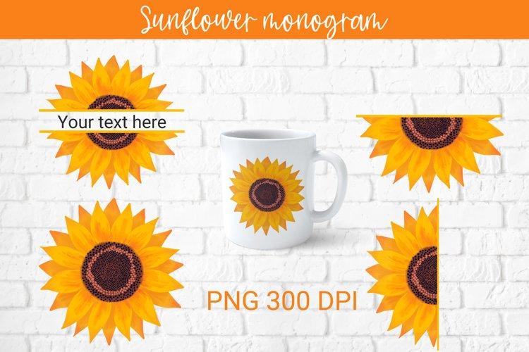 Sunflower monogram sublimation, sunflower png