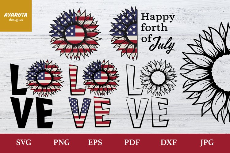 4th of July Sunflower Love SVG PNG, Forth of July clipart