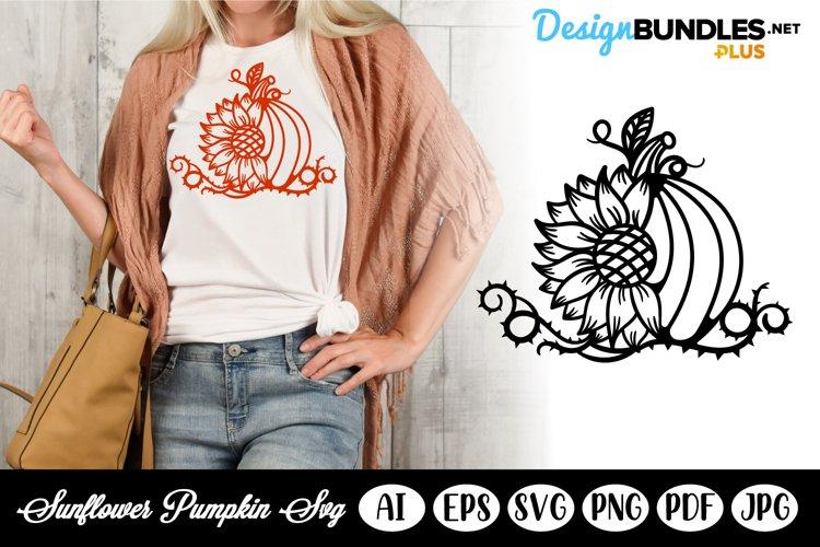 Half Pumpkin and Half Sunflower SVG Template