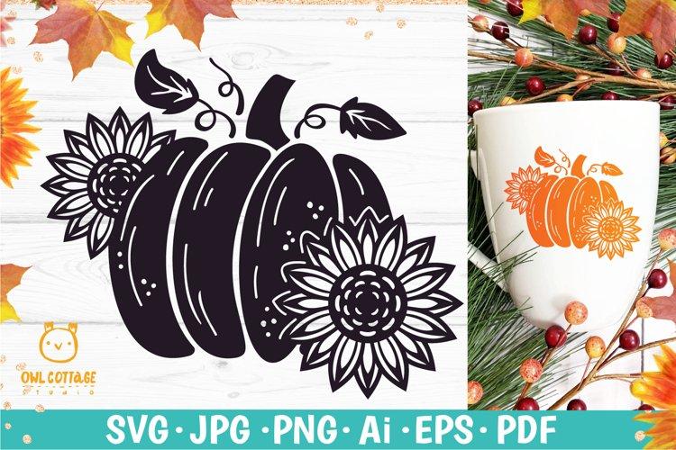 Sunflower Pumpkin svg, Fall Sunflower SVG