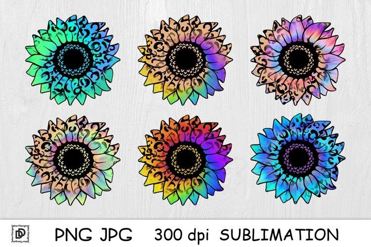 Tie Dye Sunflower Sublimation Bundle Sunflower PNG Leopard