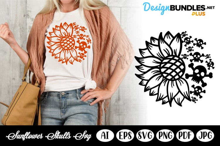 Sunflower and Skulls with Bones SVG Template