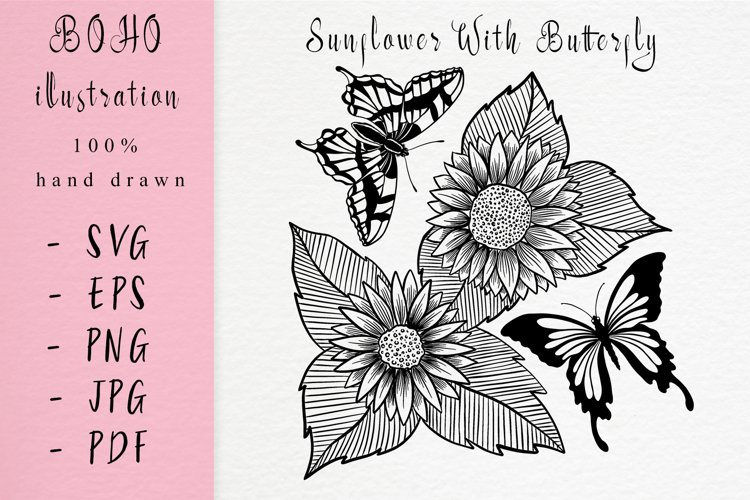 BOHO illustration / Hand drawn sunflowers with Butterfly