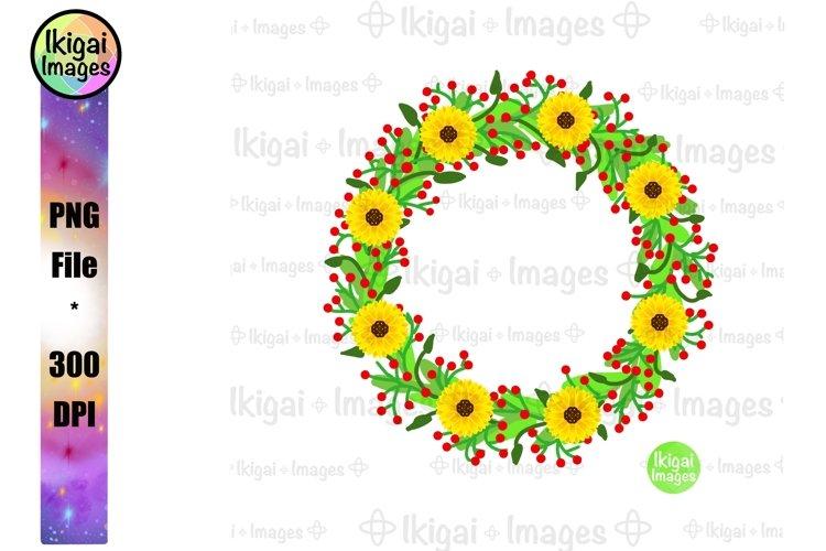 Sunflower Wreath Sublimation, Flower Border, Floral Frame