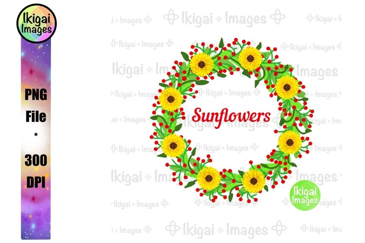 Sunflower Wreath Sublimation, Flowers PNG, Floral Clipart