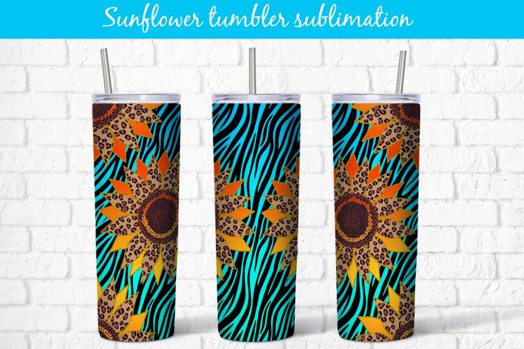 Tumbler sublimation zebra print sunflower wrap 20 Oz