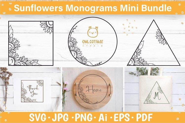Sunflower frames svg, Decorative floral SVG monograms
