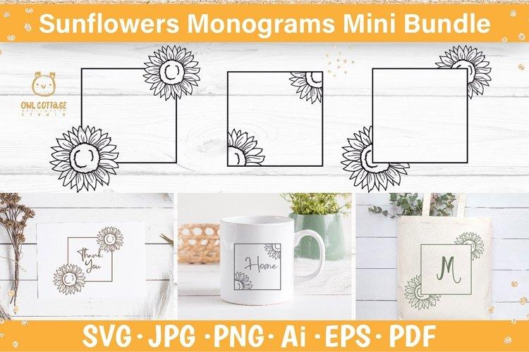 Sunflower square frames svg, Decorative floral SVG monograms