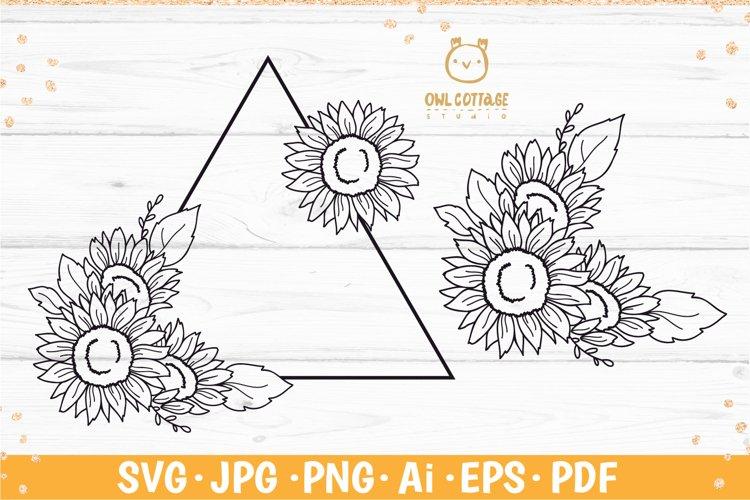 Sunflower triangle frame svg, Decorative floral SVG Monogram