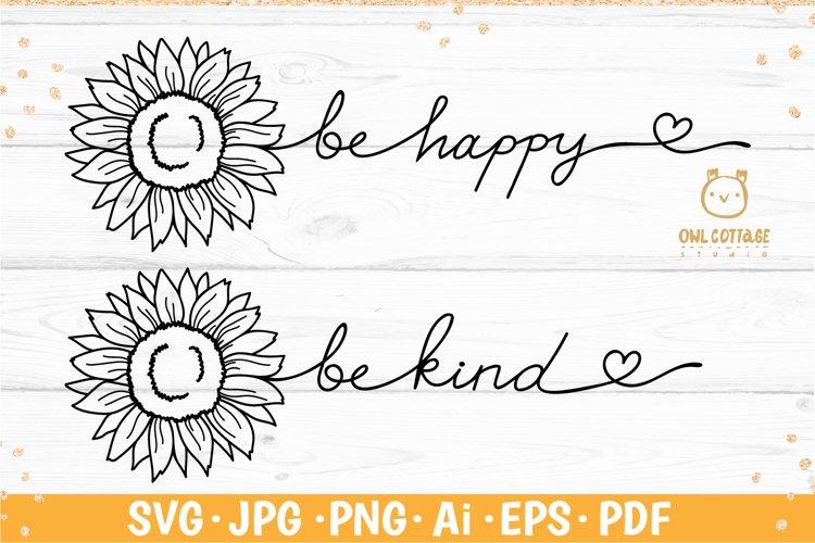 Sunflower word stem svg, be happy svg, be kind svg