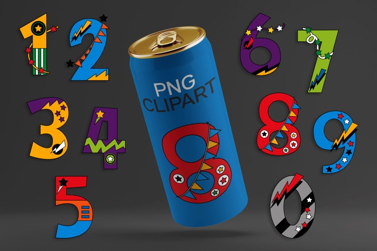 Superhero numbers clipart for party invites