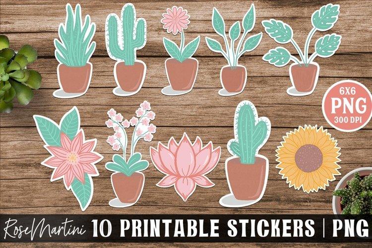 Plants Stickers Bundle 10 Printable Stickers Hand Drawn