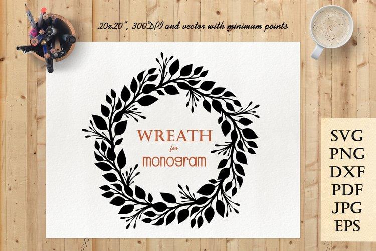 Wreath SVG for Monogram   Black Wreath Frame PNG