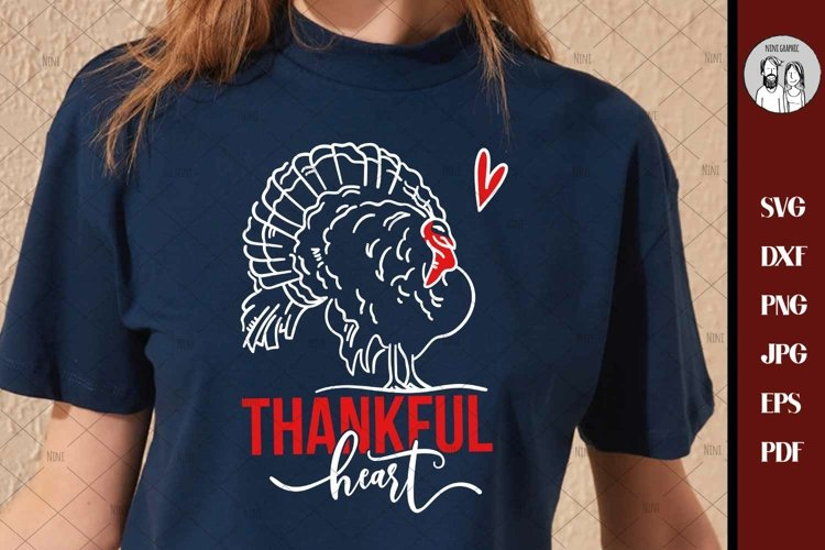 Thanksgiving SVG - Thankful Heart - SVG DXF eps and png File