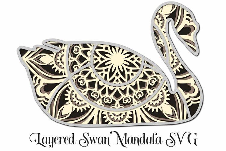 Swan Mandala 4 Layered 3D Design SVG Paper Cutting example image 1
