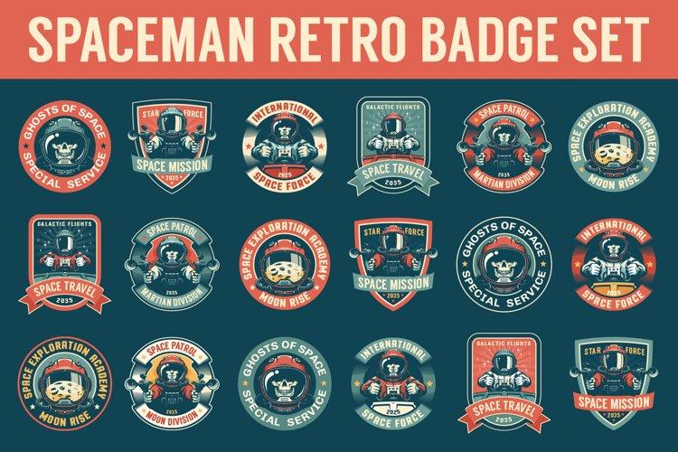 Spaceman Retro Badge Set