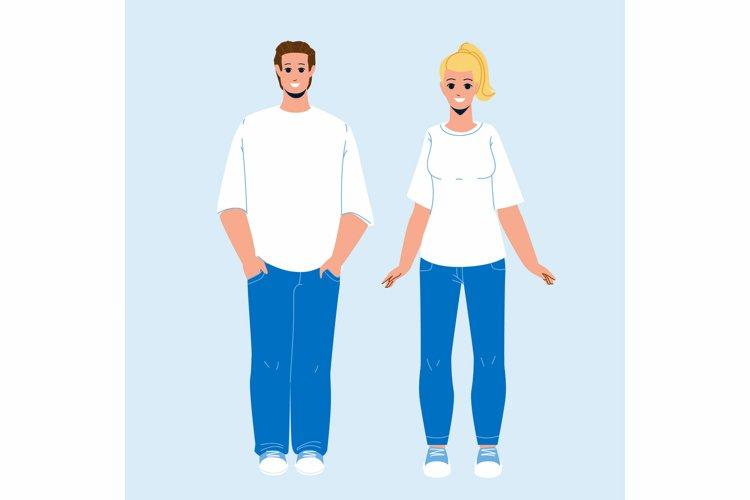 T-shirt Clothing Wearing Man And Woman Vector