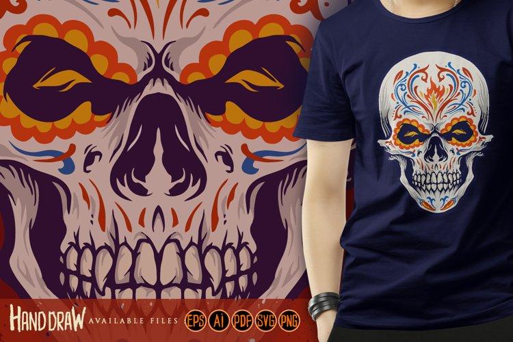 Sugar skull Dia de Los Muertos Tattoo Illustrations