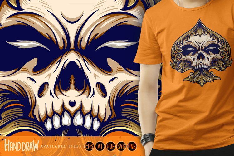 Skull Playing Card With Ornate Luxury svg