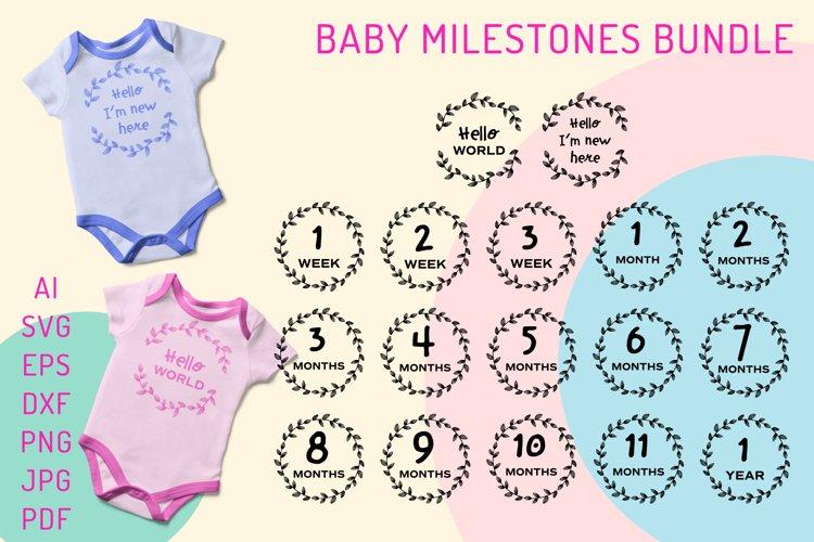 Hello World SVG. Baby Milestones SVG Bundle. Baby Months SVG