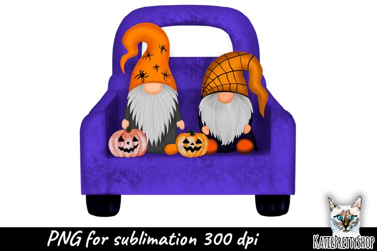Truck with Gnomes, Halloween Sublimation Design