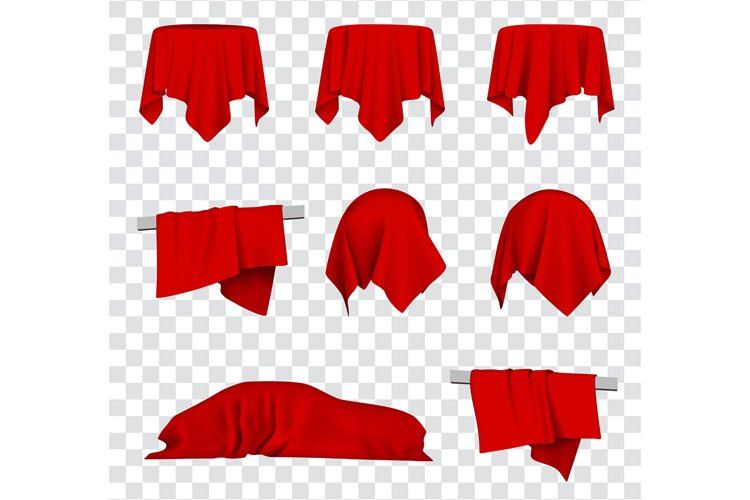 Red Silk Cloth Covered Car, Table and Ball 3d Vector Bundle