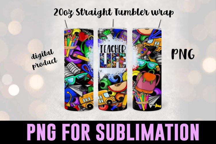 Teacher Life Sublimation Tumbler Wrap - School doodle design