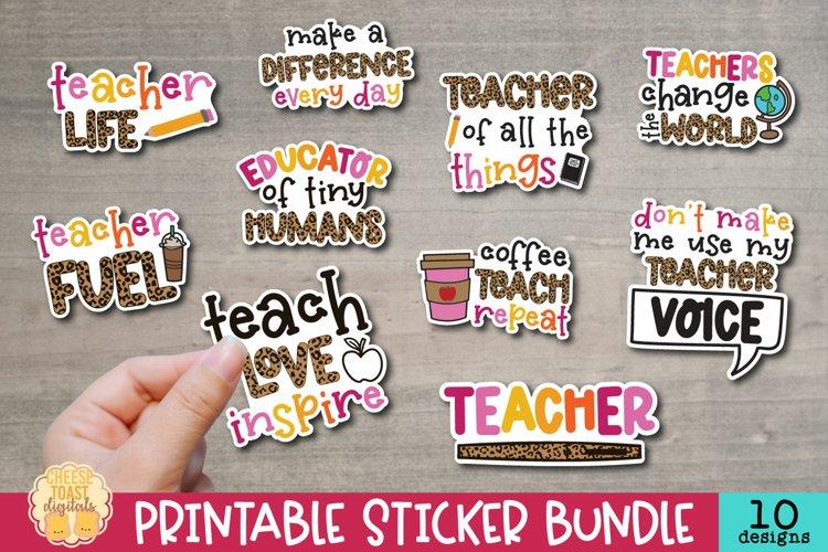 Teacher Stickers Bundle | 10 Leopard Print Sticker Designs