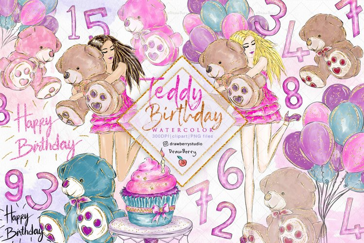 Teddy Birthday Clipart pack PNG   Drawberry CP078 example image 1