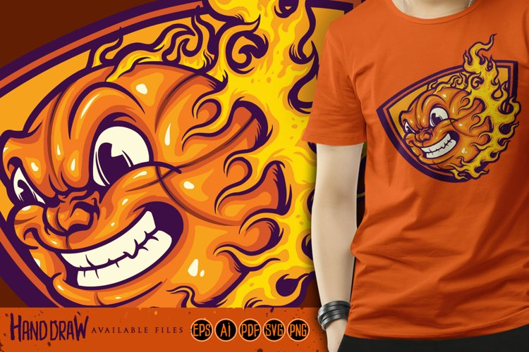 Mad Basketball On Fire SVG Illustrations example image 1