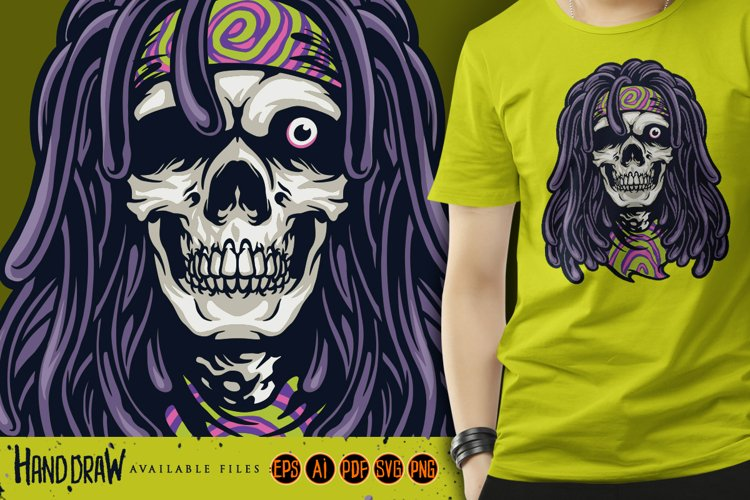 Psychedelic Skull Rasta Character SVG Illustrations example image 1