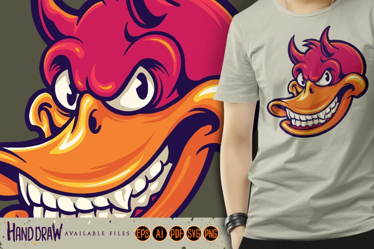 Smiling Duck Devil Character SVG Illustrations example image 1