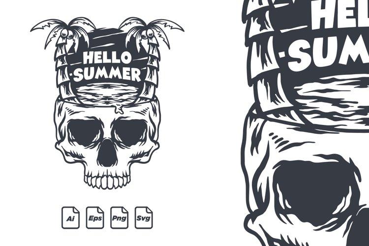 Vintage summer skull illustration  Hello Summer  SVG