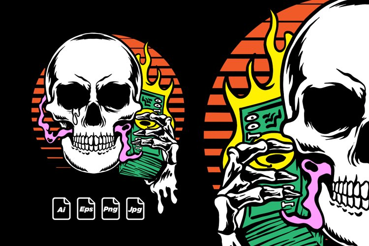 Vector Skull illustration, T shirt design Ready To Print