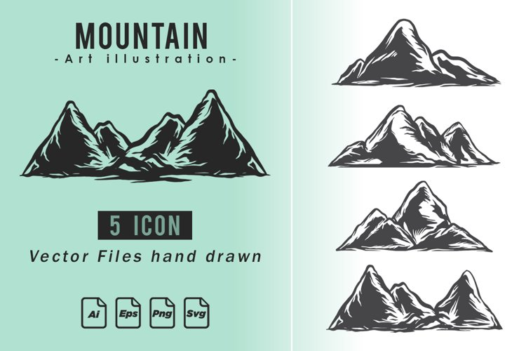 Collection Vintage set mountains hand-drawn