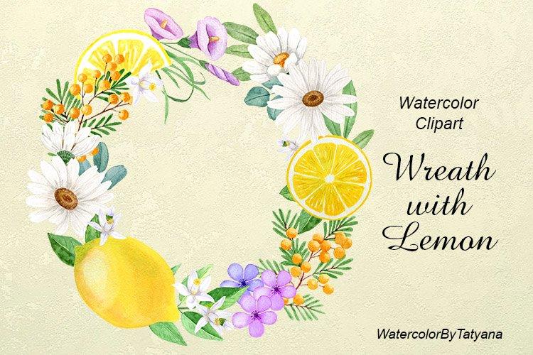 Watercolor lemon flower wreath.White Chamomile,lemon clipart