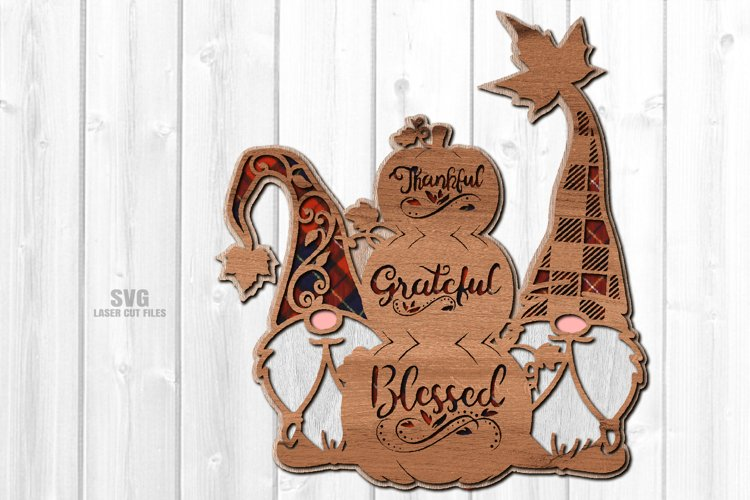 Thankful Grateful Blessed Pumpkin Gnome SVG Laser Cut Files example image 1