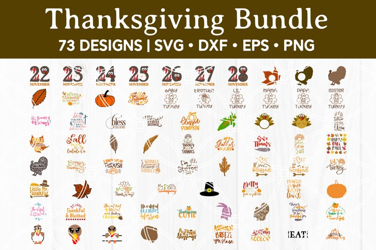 73 Designs! Thanksgiving SVG Bundle Silhouette and Cricut example image 1