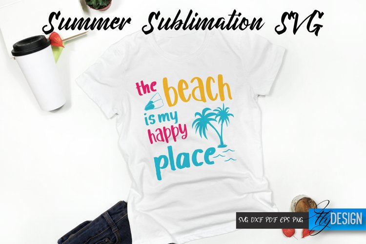The beach is my happy place. Summer Quotes. Quotes Vector.