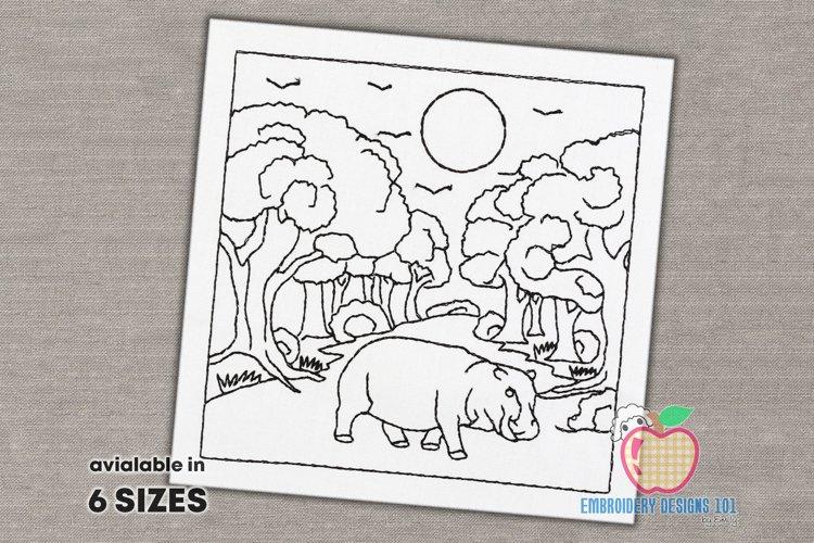 The Hippopotamus Walking In The Jungle Quick Design