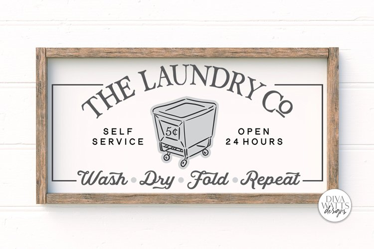 The Laundry Co SVG   Farmhouse Laundry Room Sign   DXF and m example image 1