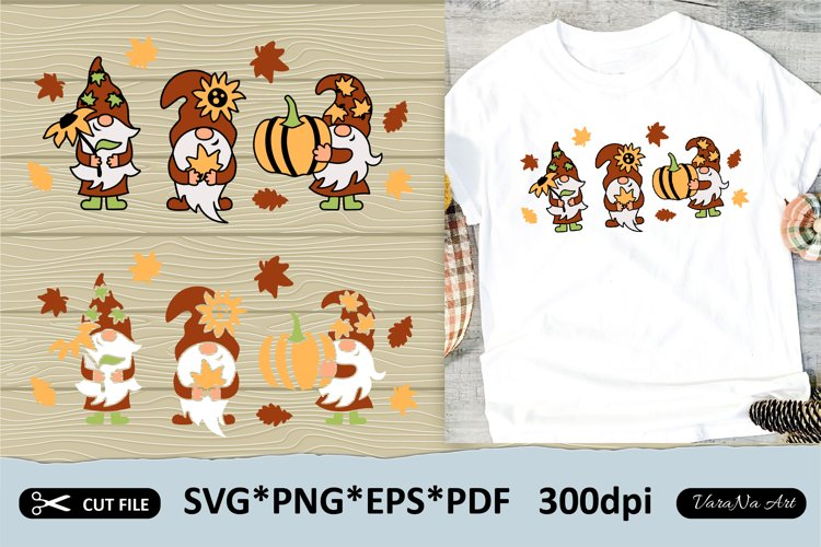 Three fall gnomes with pumpkin, sunflower and autumn leaves.
