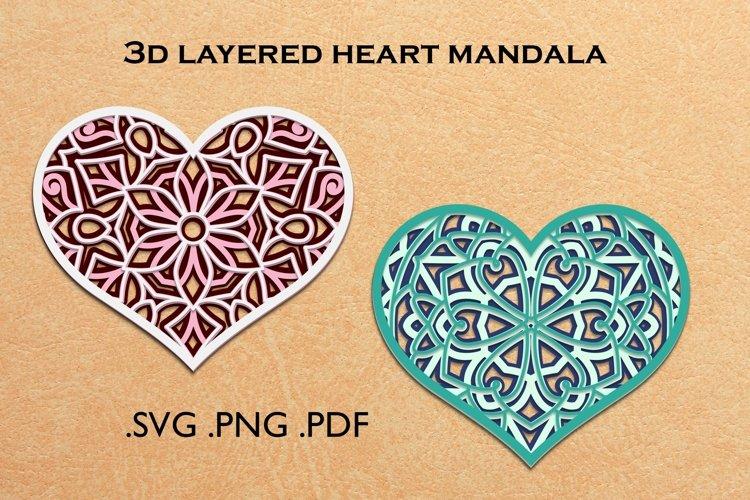 3d layered heart mandala - 3d SVG