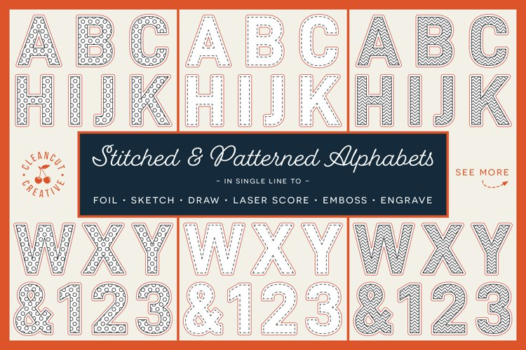 Stitched and Patterned Alphabet | foil quill SVG sketch file