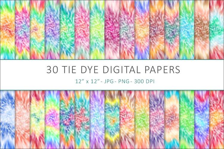 Tie Dye Digital Papers, Tie Dye Backgrounds